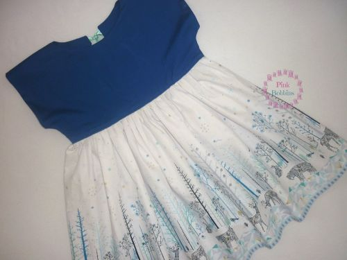 Blue and white norland forest scene dolman sleeve dress