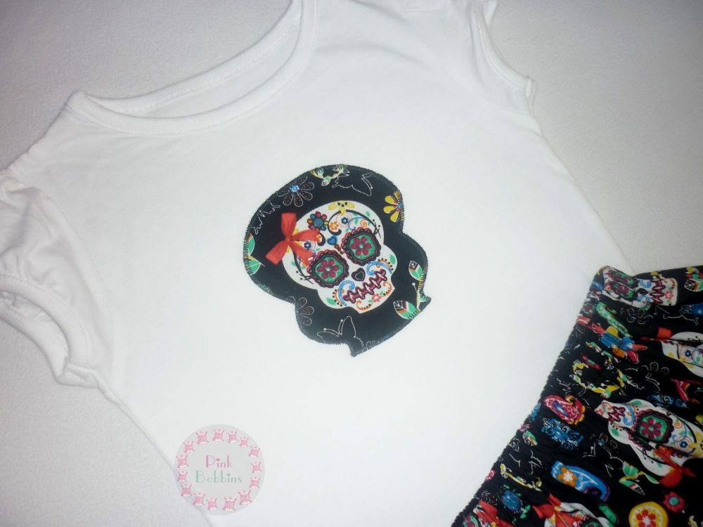 Sugar skull t-shirt - girls cap sleeved top style - 3-4 years plus