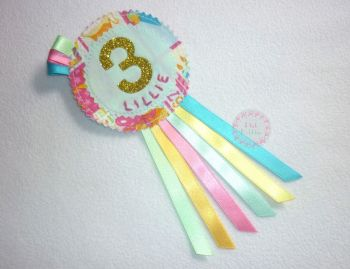 Personalised girly rosette (no. 1-9) - made to order
