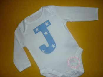 Initial vest - unisex - 0-3 months to 2-3 years - choice of designs for the letter