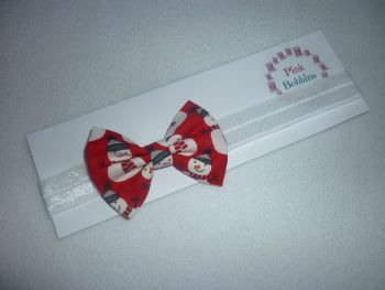 Red snowman bow elastic headband - made to order