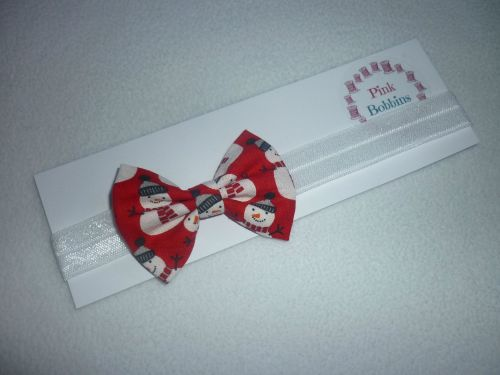 Red snowman bow elastic headband