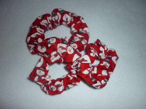 Red snowman scrunchie