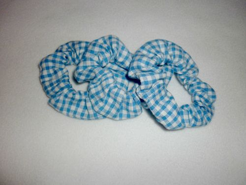 Sky blue gingham scrunchie