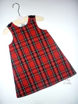 Red tartan pinafore dress - made to order