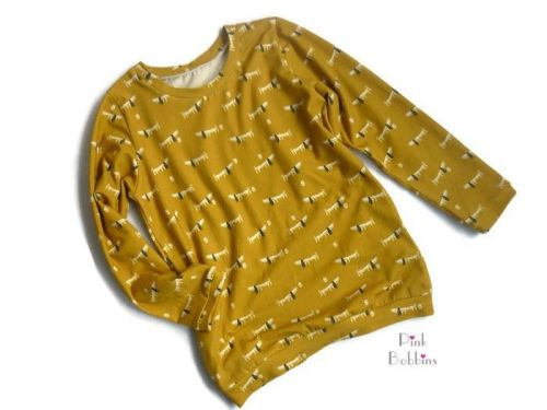 Mustard dachshund dog jersey long-sleeved top