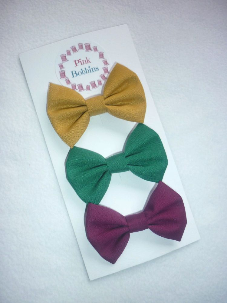 Jewel tones hair bow set