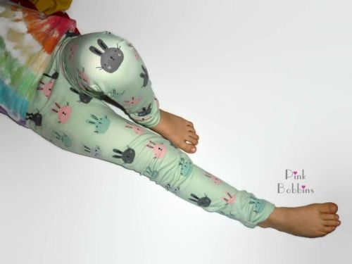 Mint bunny leggings with bow cuffs