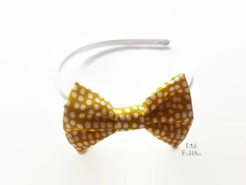 Mustard polka dot bow hairband