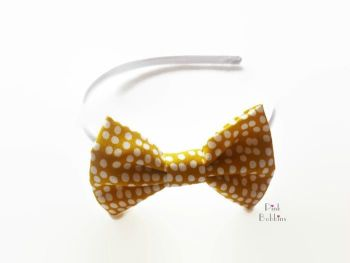 Mustard polka dot bow hairband - made to order