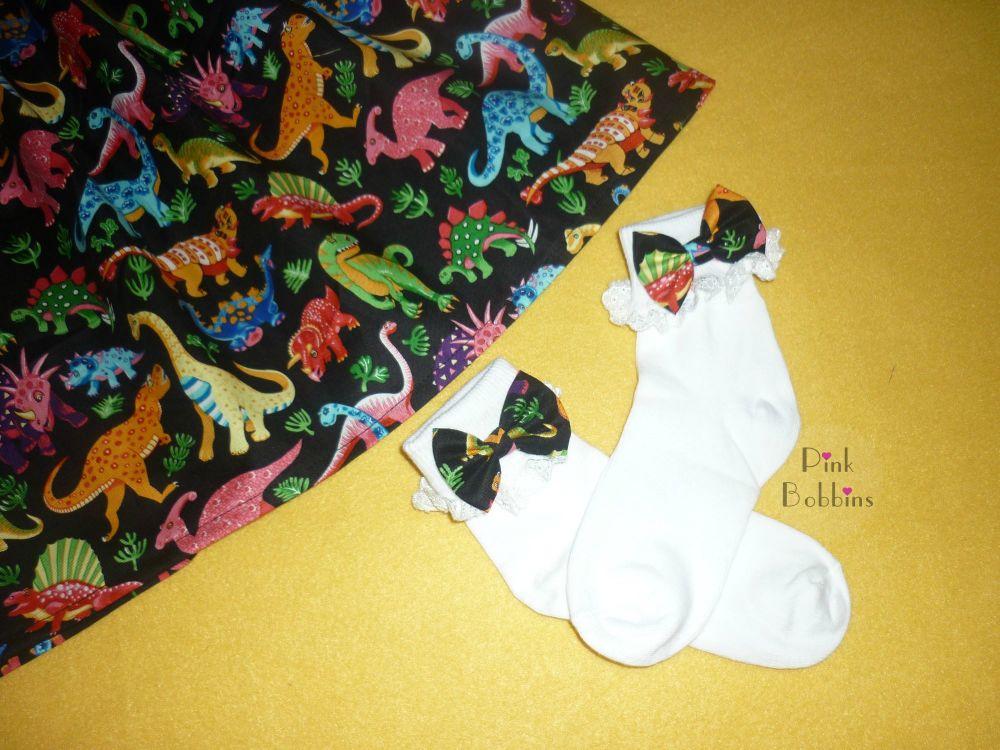 Dinosaur bow socks