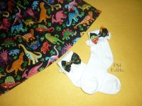 Dinosaur bow socks - made to order