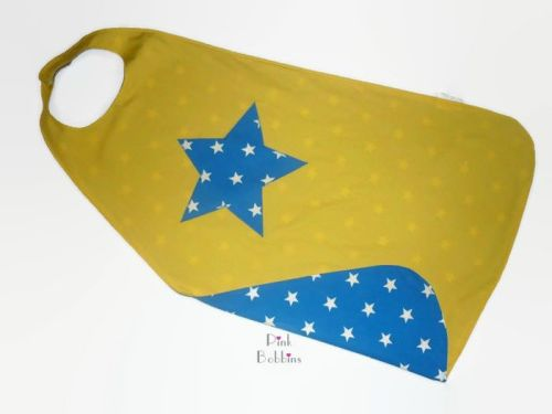 Reversible superhero cape with star motif (no initial) - your choice of col