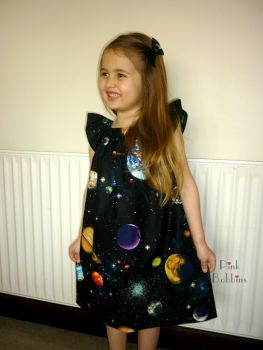 Solar system angel sleeve dress