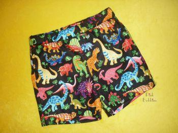 Dinosaur shorts (black) made to order