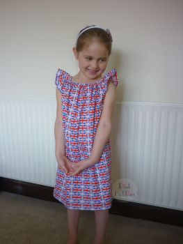 Union Jack flag angel sleeve dress