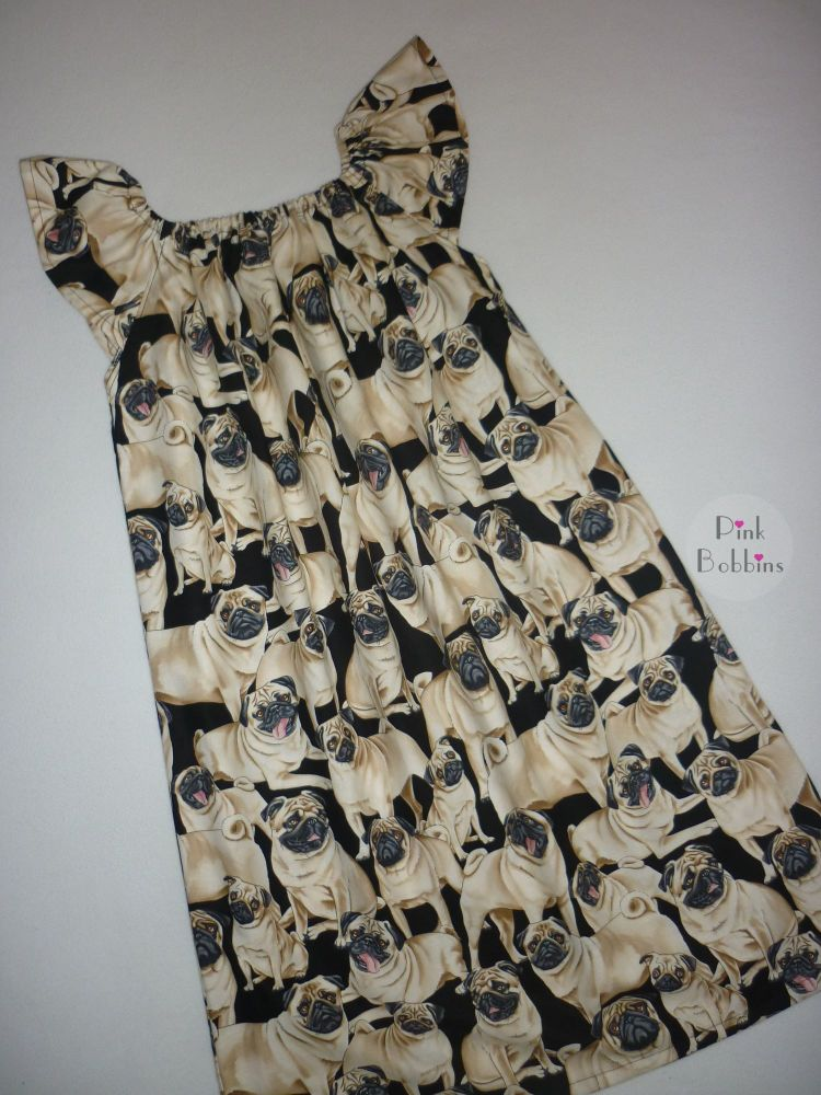 Pug dog angel sleeve dress