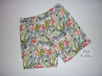 Zebra and flamingo shorts - made to order