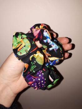Dinosaur (black) scrunchie - in stock