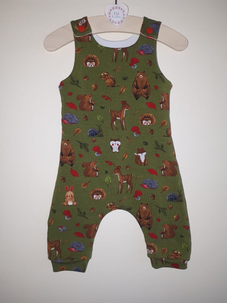 Woodland animal jersey romper - short or long leg