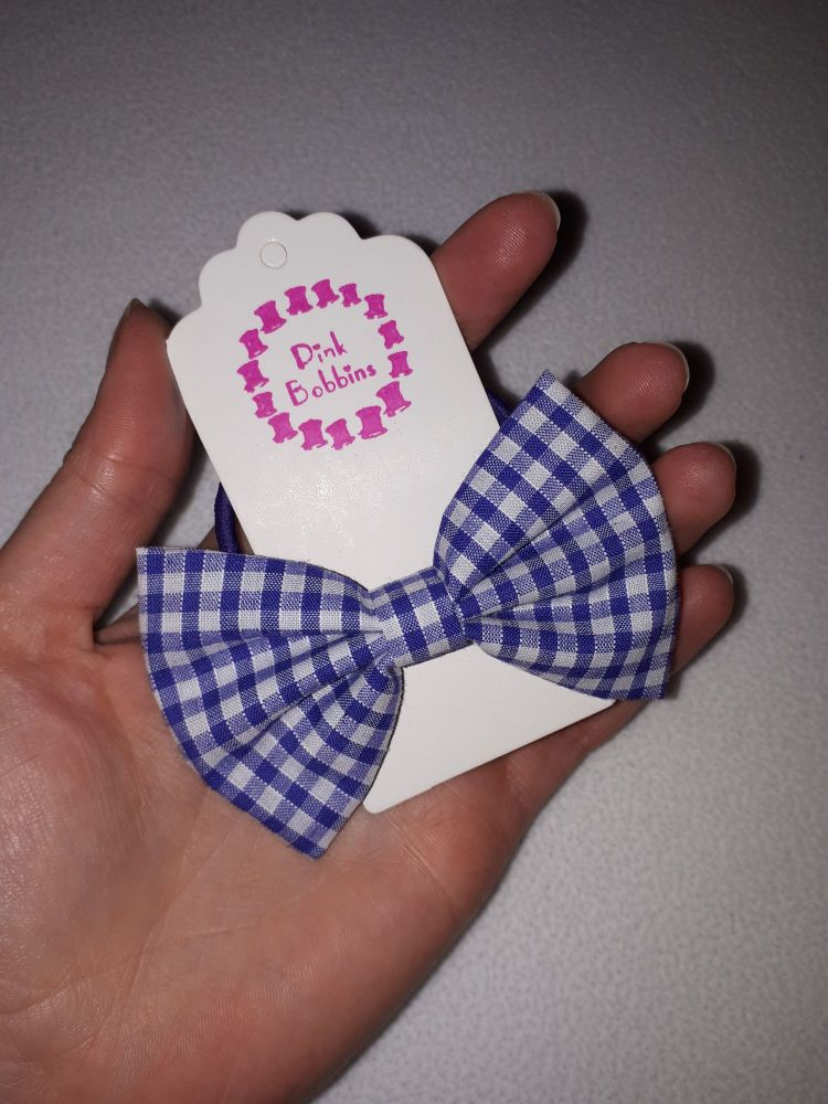 Midi bow bobble - purple gingham