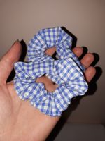 Gingham scrunchie - sky blue