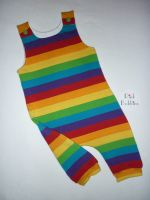 Rainbow stripe jersey romper - made to order