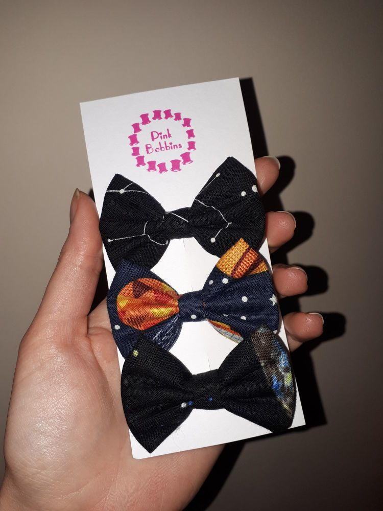Space hair bow set