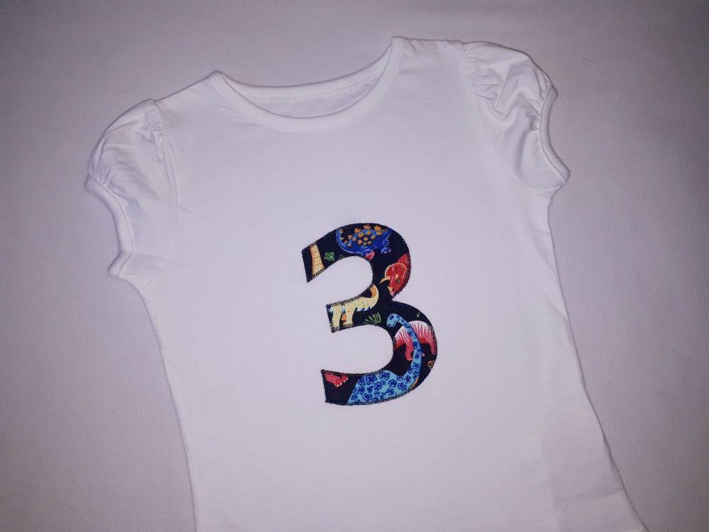 Girl's birthday t-shirt - dinosaur design - any number!