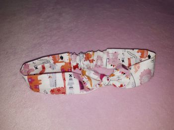 Girly dinosaur fabric headband