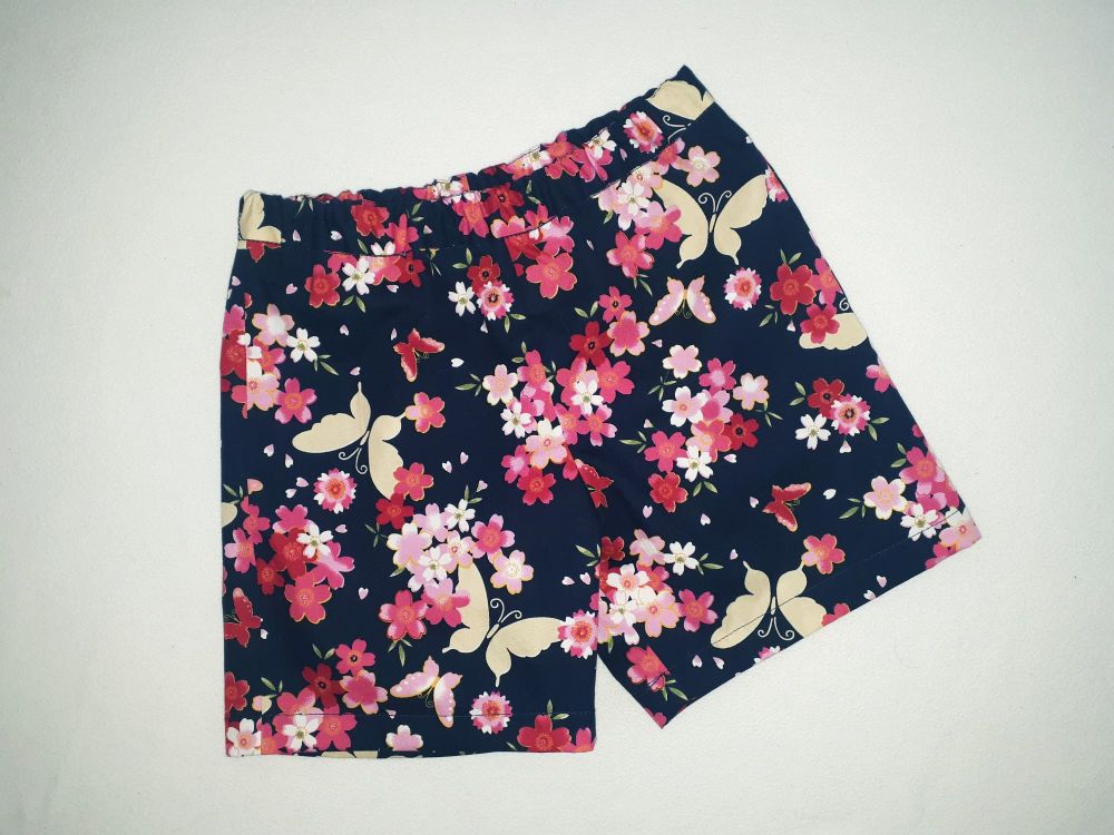 Navy floral/butterfly shorts