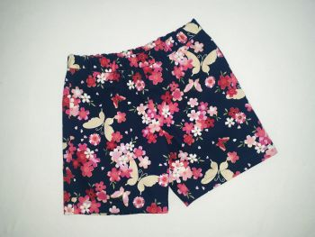 Navy floral/butterfly shorts - made to order