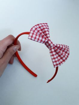 Red gingham bow hairband