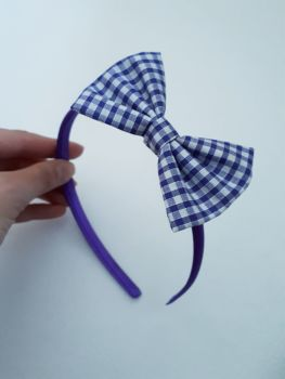 Purple gingham bow hairband - made to order
