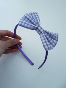 Lilac gingham bow hairband