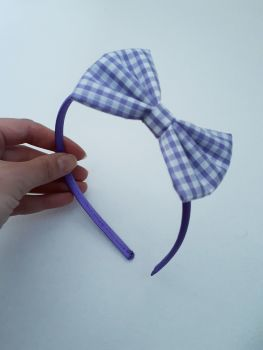 Lilac gingham bow hairband - made to order