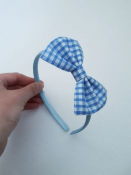 Sky blue gingham bow hairband - made to order