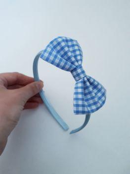 Sky blue gingham bow hairband