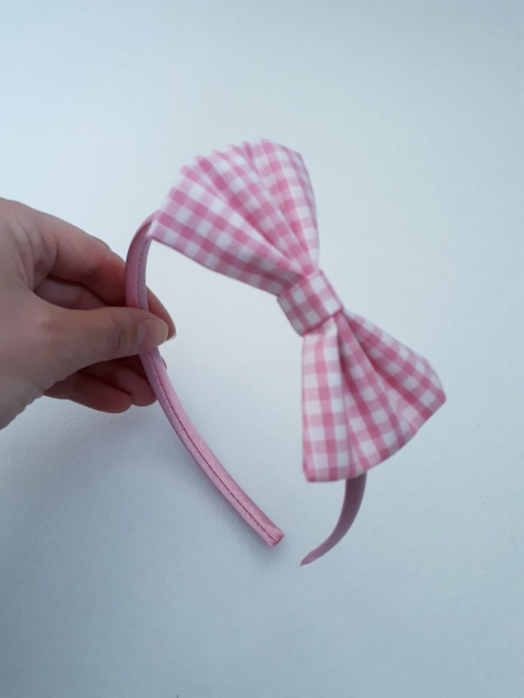 Pink gingham bow hairband