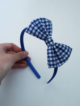 Royal blue gingham bow hairband - made to order