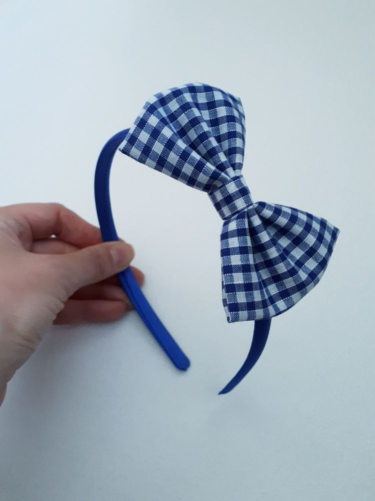 Royal blue gingham bow hairband