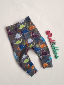 Dinosaur leggings with optional bow cuffs - made to order