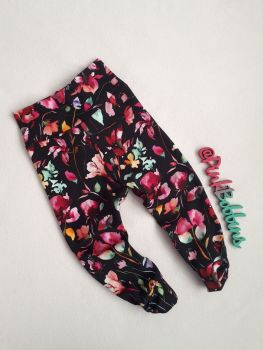 Floral leggings with optional bow cuffs - made to order