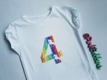 Girl's birthday t-shirt - rainbow unicorn design - any number!