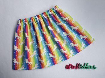 Rainbow & unicorn skirt - made to order