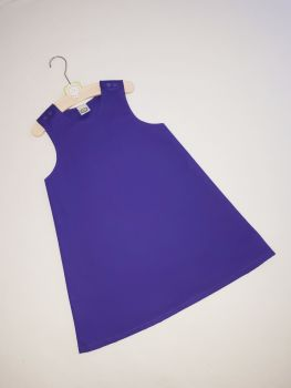Plain purple pinafore dress - made to order
