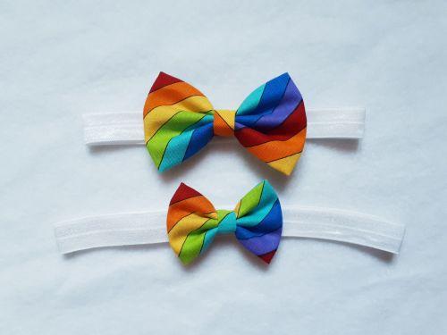 Rainbow bow elastic headband