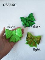 Green shades - sequin hair bow - in stock