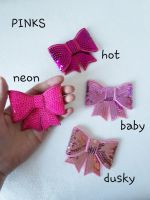 Pink shades - sequin hair bow - in stock
