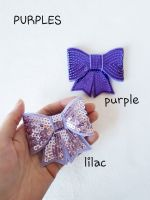Purple shades - sequin hair bow - in stock